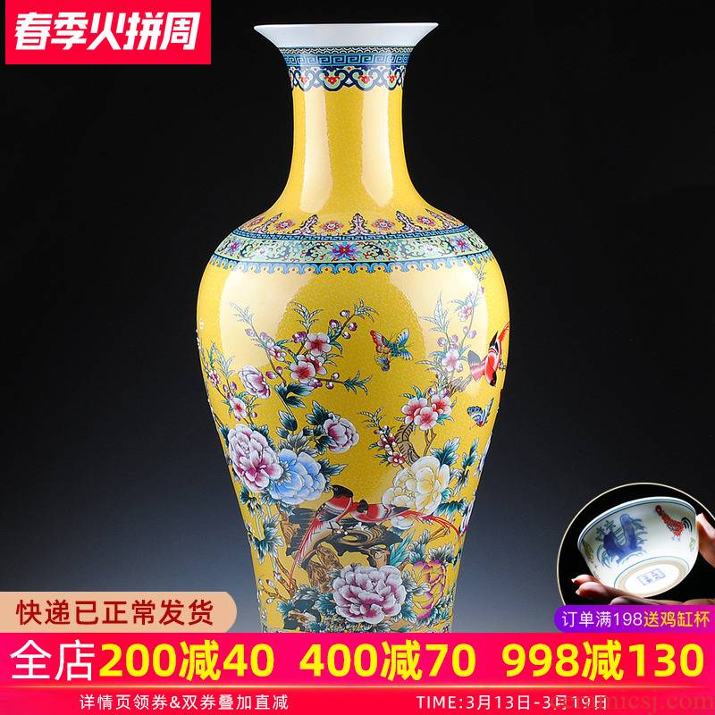 Europe type colored enamel porcelain of jingdezhen ceramics of large vases, flower receptacle modern fashionable sitting room adornment is placed