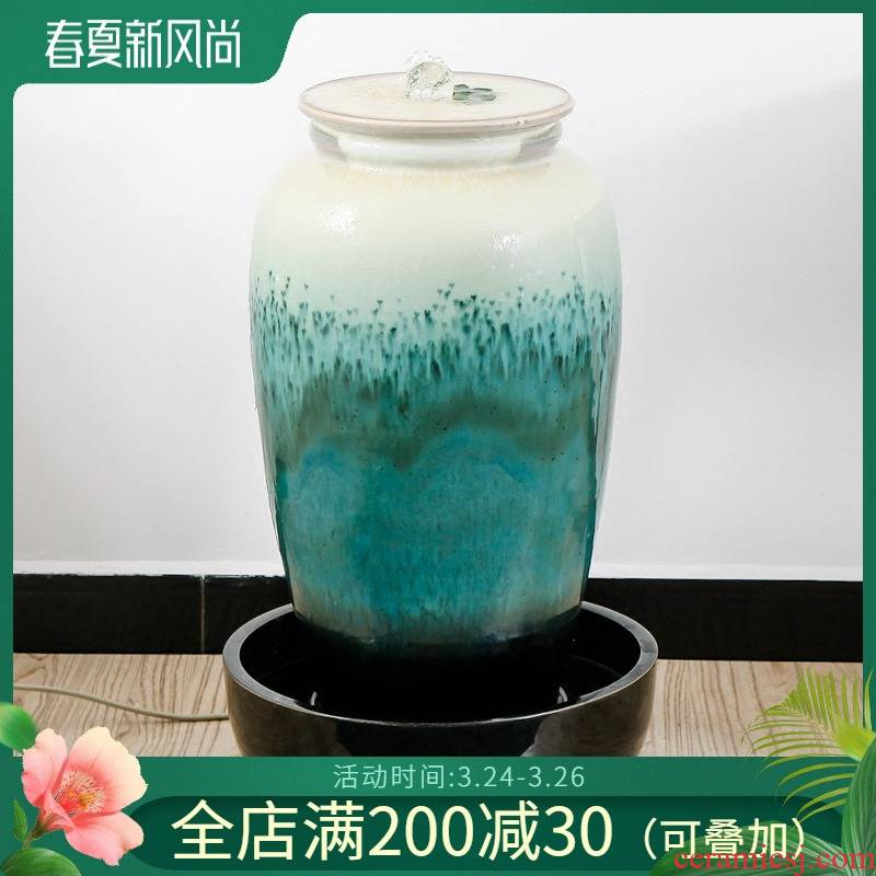 The sitting room of The water fountain waterscape decoration humidifier indoor home furnishing articles feng shui plutus ceramic decoration