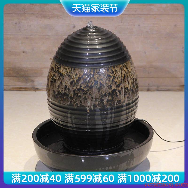 New classical landscape of large vases, ceramic POTS feng shui water fountain round soft adornment collocation waterscape