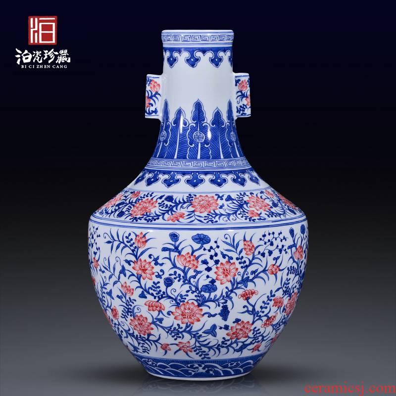 Jingdezhen ceramics antique Chinese blue and white lotus youligong ears big vase sitting room home decoration furnishing articles