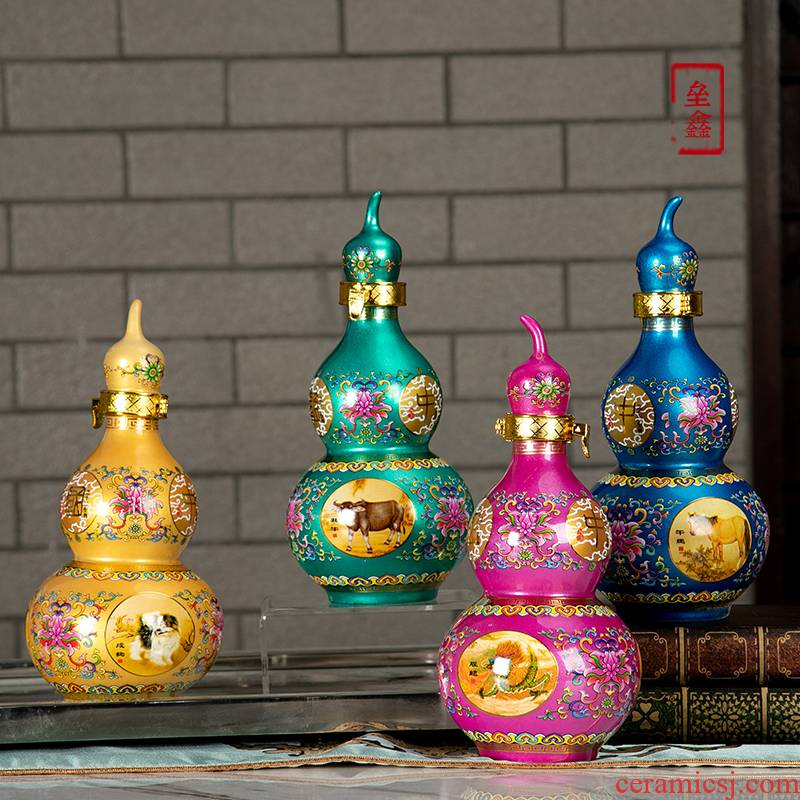 Jingdezhen TaoKong bottle furnishing articles home wine bottle seal 1 catty zodiac gourd wine canned wine utensils