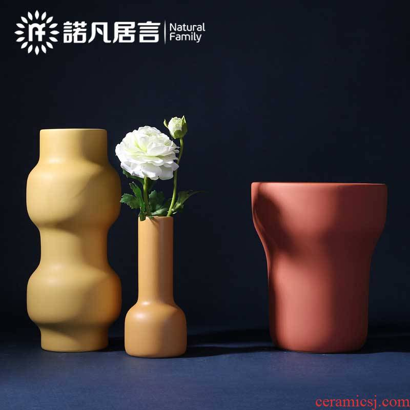 Ceramic vase morandi color sample room mesa dried flowers ins wind Nordic sitting room TV ark, flower arranging furnishing articles