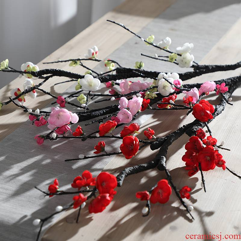 The wintersweet name plum blossom put peach tree flowers, silk flowers, sitting room, TV ark, Chinese zen ceramic vases, flower art