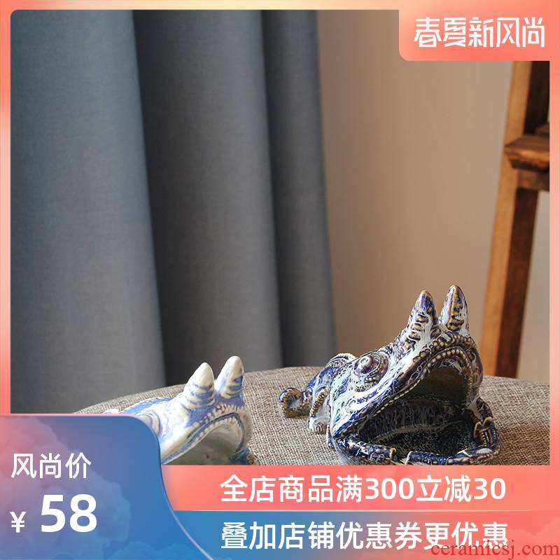 Ceramic ashtray creative move lizard household practical adornment modelling furnishing articles