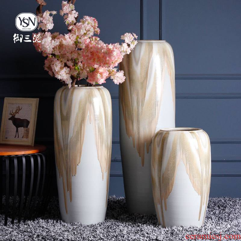 Chinese I and contracted sitting room of large ceramic vase flower arranging place jingdezhen porcelain pot garden decoration