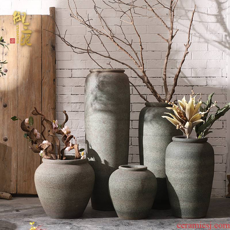 Jingdezhen ceramic large ancient vase hotel flower arranging furnishing articles I and contracted sitting room ground clay pot