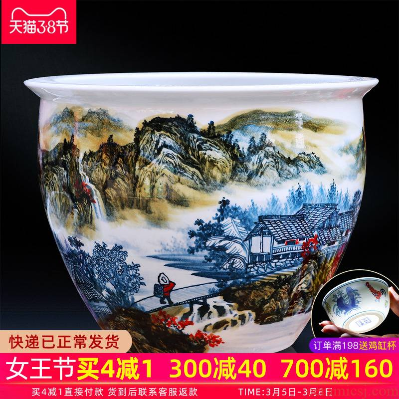 Jingdezhen ceramic aquarium China hand - made modern Chinese landscape painting cylinder home sitting room adornment ornament