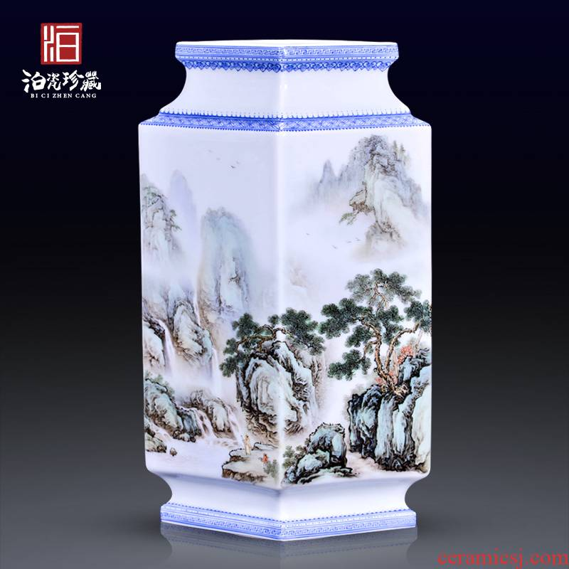 Jingdezhen ceramics hand - made jack pastel landscape square vase new rich ancient frame of Chinese style household decorative furnishing articles
