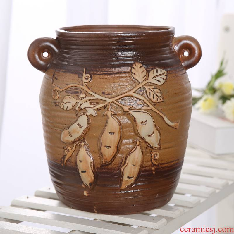 European ceramic flower pot coarse pottery breathable large caliber high model of the old running the fleshy green plant flower vase asparagus rich tree