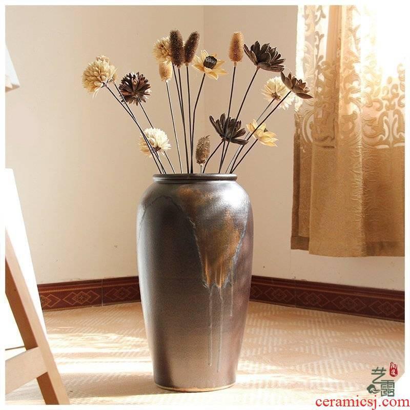 Color restoring ancient ways flow glaze up ceramic floor vase vase modern European sitting room hotel villa furnishing articles