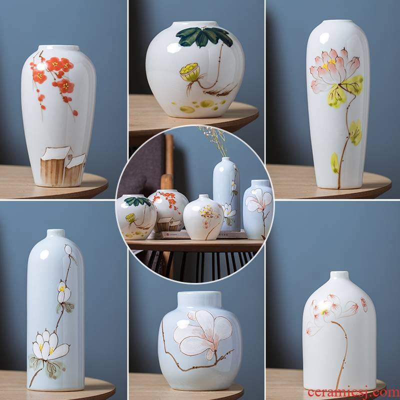 Three - piece jingdezhen ceramic porcelain of new Chinese style mini vase vase brush pot creative sitting room place, restoring ancient ways