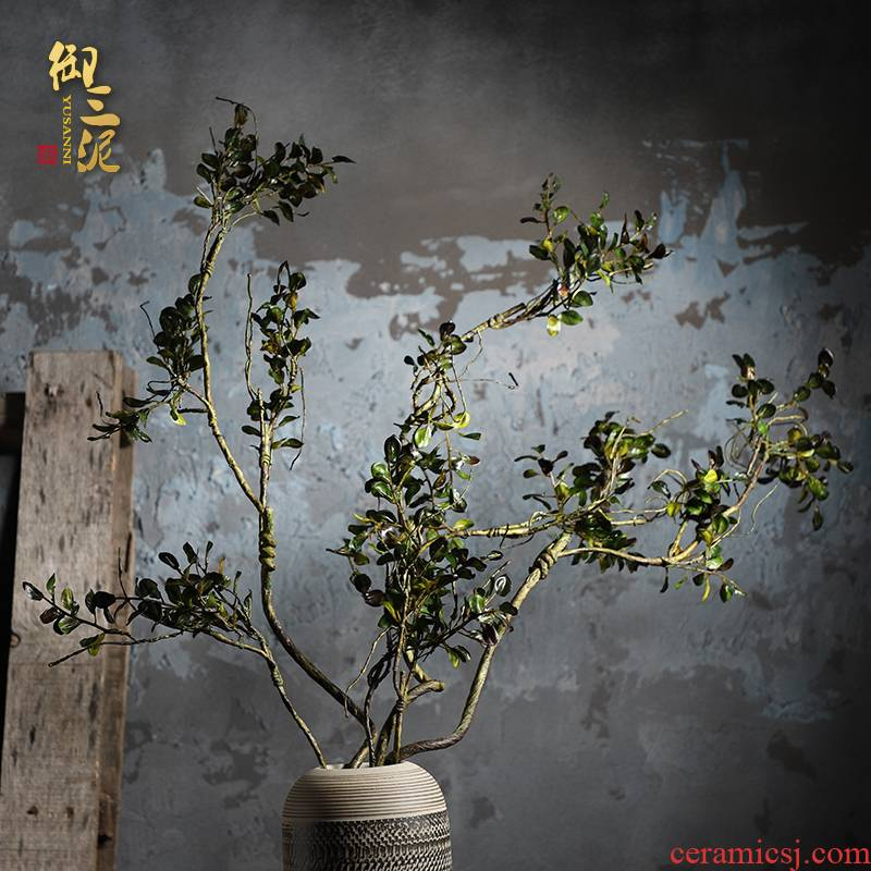 Simulation plant wall matchs material Simulation cane with small leaves Chinese zen green vine bearing flowers floral decoration