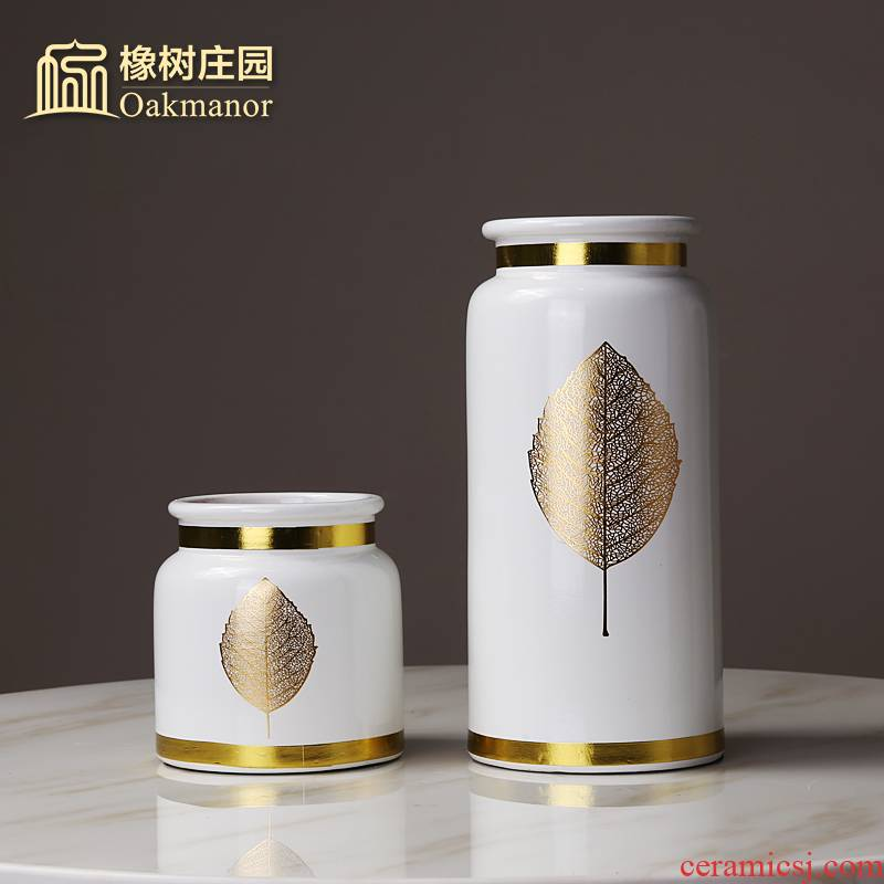 Nordic ins golden leaves ceramic vase place to live in the living room table light key-2 luxury white dry flower arranging flowers