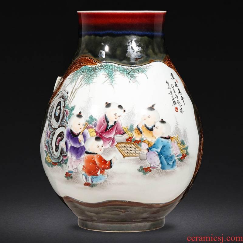 Creative jingdezhen ceramics up hand - made enamel vase large Chinese style living room home furnishing articles