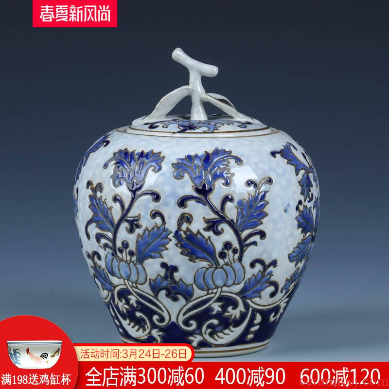 Jingdezhen blue and white storage tank furnishing articles of the new Chinese style household ceramics archaize with cover sitting room apple canned act the role ofing is tasted