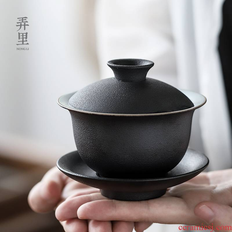 Get in | large only three tureen ceramic cups of black tea bowl of kung fu tea set coarse pottery tea ware