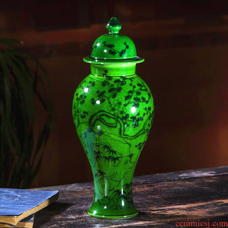 Jingdezhen ceramic vase furnishing articles sitting room of Chinese style restoring ancient ways is emerald rich ancient frame home decoration decoration arranging flowers