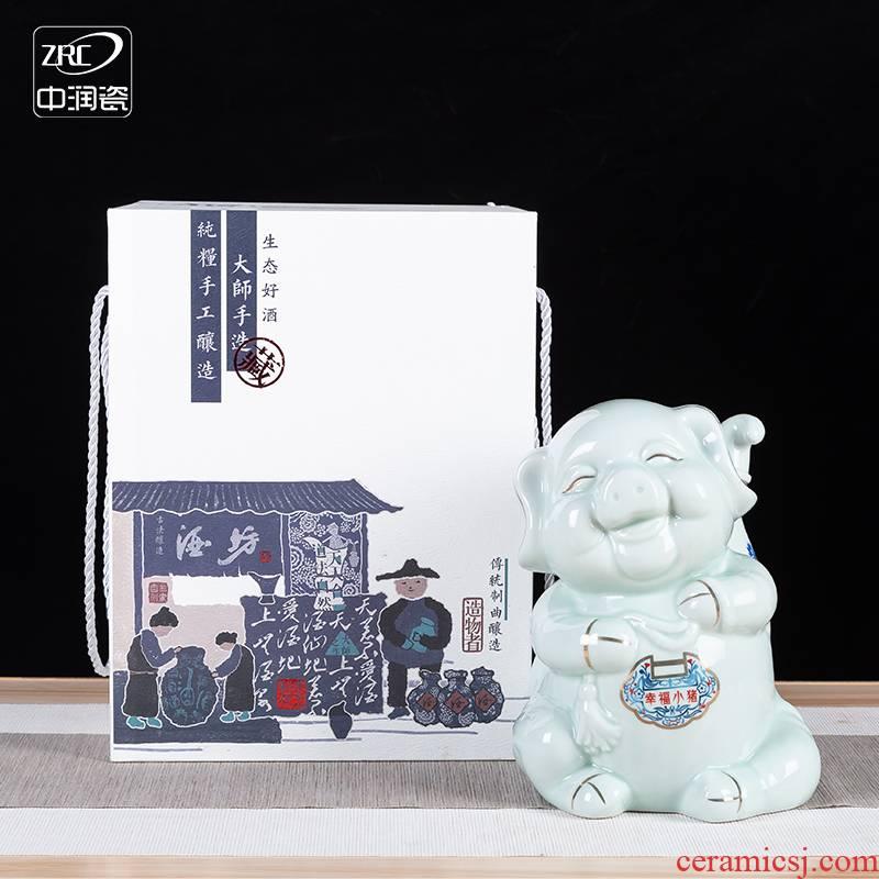 "Jingdezhen ceramic zodiac bottle happy ""creative gift three catties liquor pot seal jars with gift box"