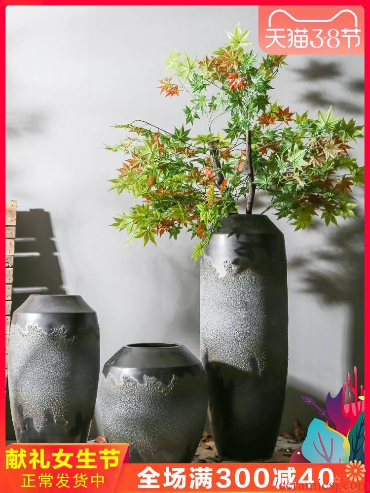 Jingdezhen ceramic vase manual nostalgic restoring ancient ways pottery club villa large flower flower implement theme restaurant