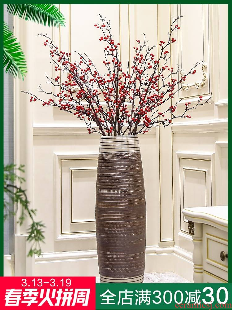 I and contracted land ceramic vase vase Nordic new Chinese dry flower arranging flowers tall sitting room adornment is placed