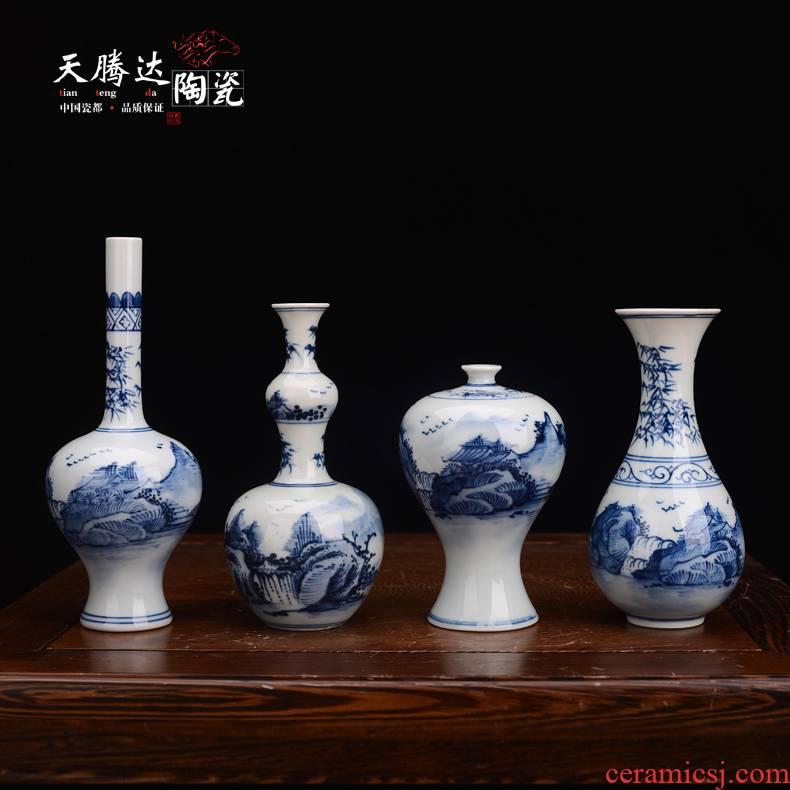 Jingdezhen ceramic vase furnishing articles sitting room dry flower flower flower arranging Chinese blue and white mini creative floret