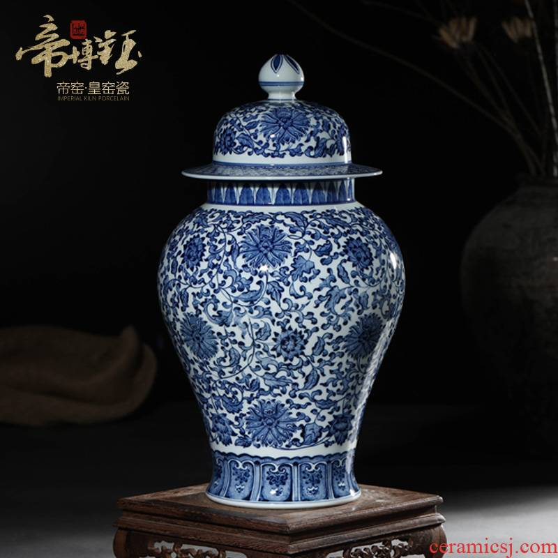 Antique hand - made porcelain of jingdezhen ceramics general tank storage tank furnishing articles of Chinese style porch sitting room adornment