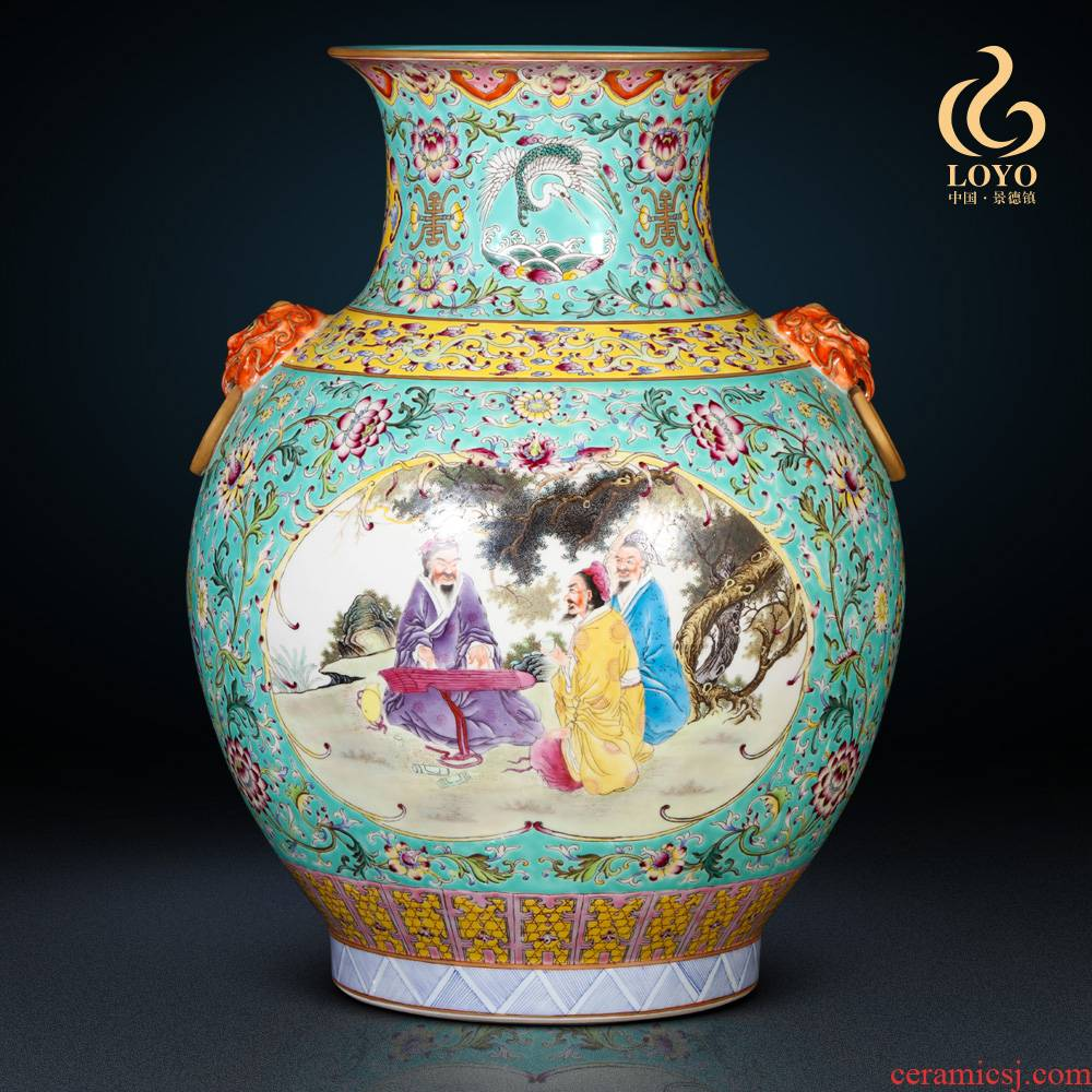 Jingdezhen ceramic imitation the qing qianlong vase Chinese style living room blue scramble to spend the lion shell household decorative furnishing articles