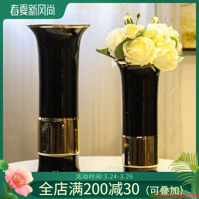 The New Chinese jingdezhen ceramic decorations furnishing articles sitting room TV ark, mesa vase simulation artificial floral floral outraged