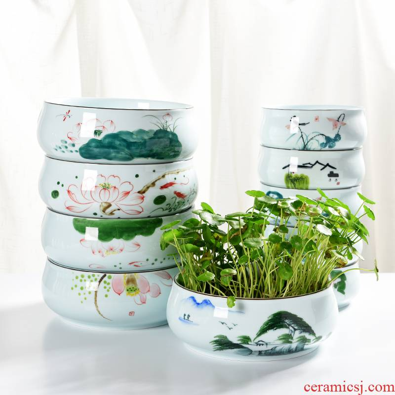 Hand - made refers to flower pot other ceramic hydroponic small container without hole, water lily bowl lotus creative fleshy large copper grass