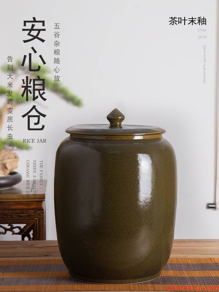 Jingdezhen ceramic barrel with cover store 30 jins meters installed large face barrel household seal ricer box of rice storage tank