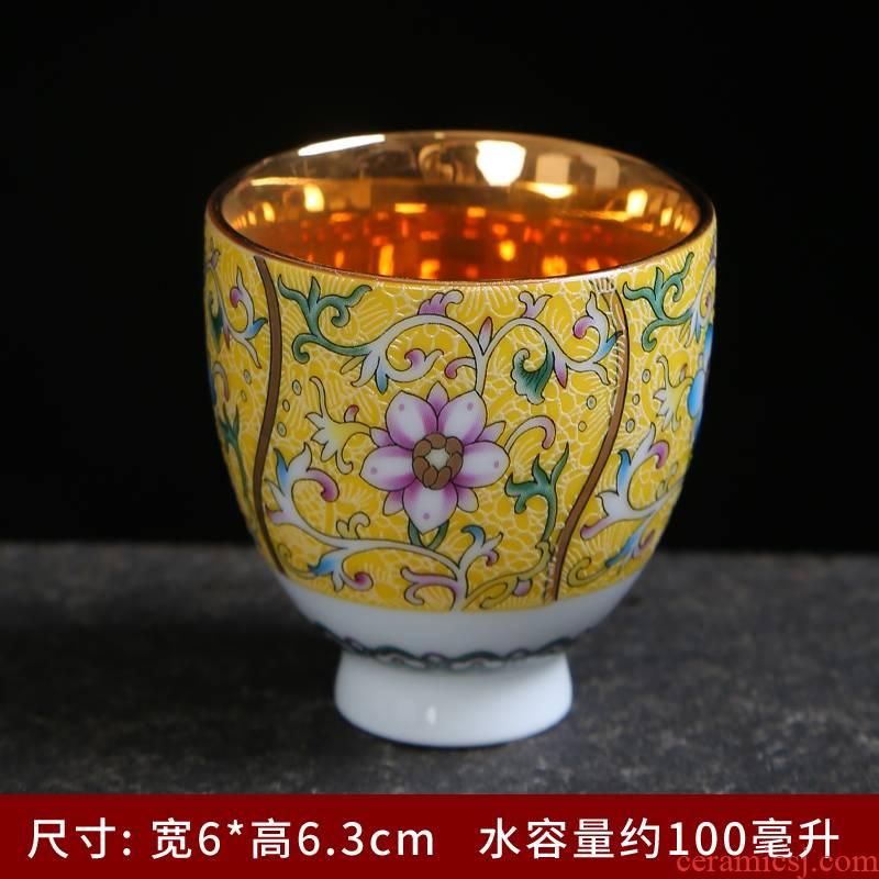 Jingdezhen tea cups grilled ceramic bowl flower sample tea cup master single CPU hand - made retro household kung fu tea cups