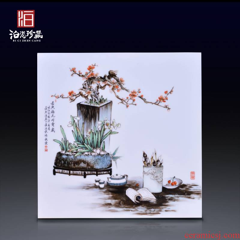 Jingdezhen ceramics hand - made flowers Chinese porcelain plate painting the living room a study background decoration hanging painter in furnishing articles