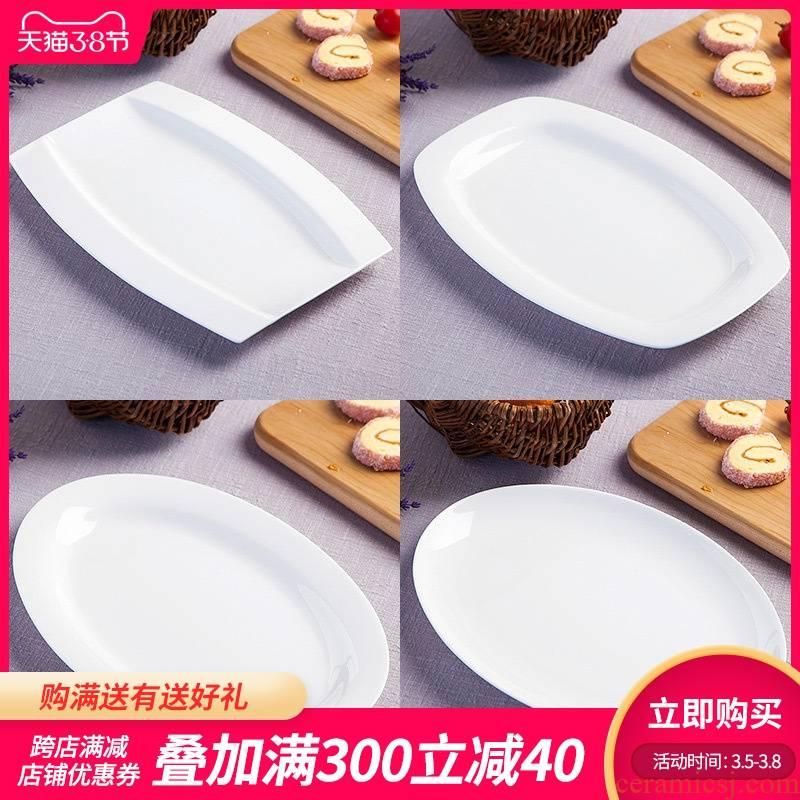 The Fish dish jingdezhen ipads porcelain tableware of pure creative dish rectangular large Fish dish round Fish dish plate