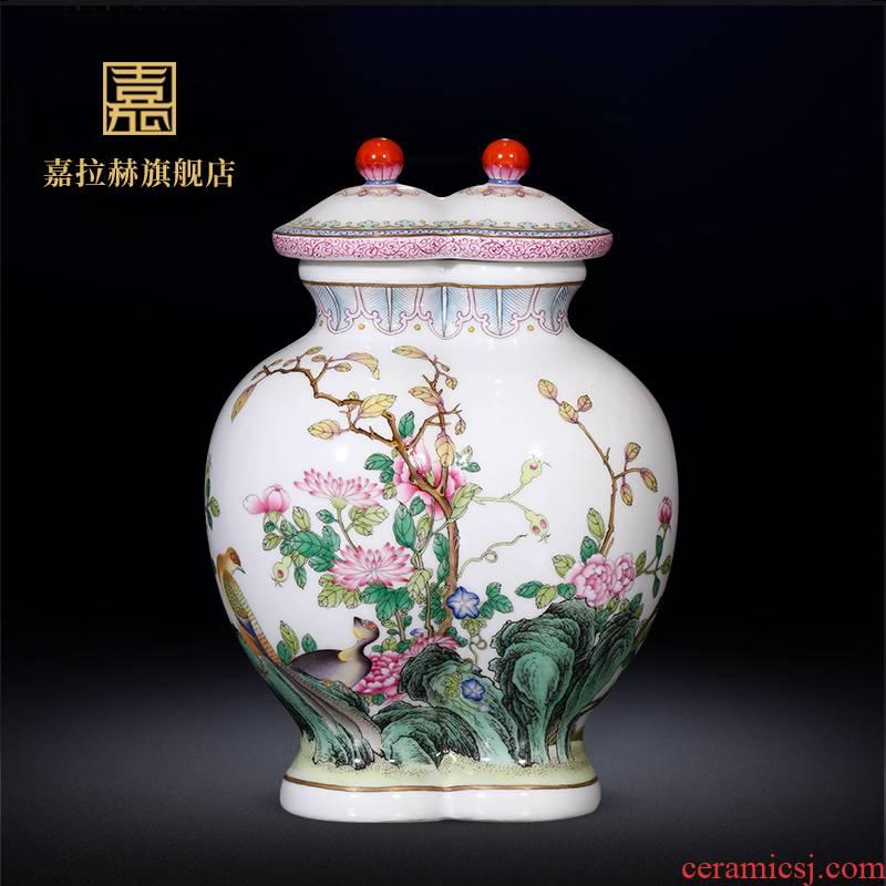 Jia lage jingdezhen ceramics furnishing articles YangShiQi hand - made colored enamel flower vase Chinese style porch decoration
