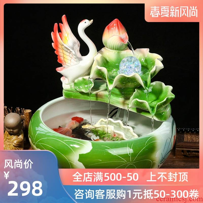Jingdezhen ceramic small water humidification decoration aquariums furnishing articles circulating water fish farming household act the role ofing is tasted