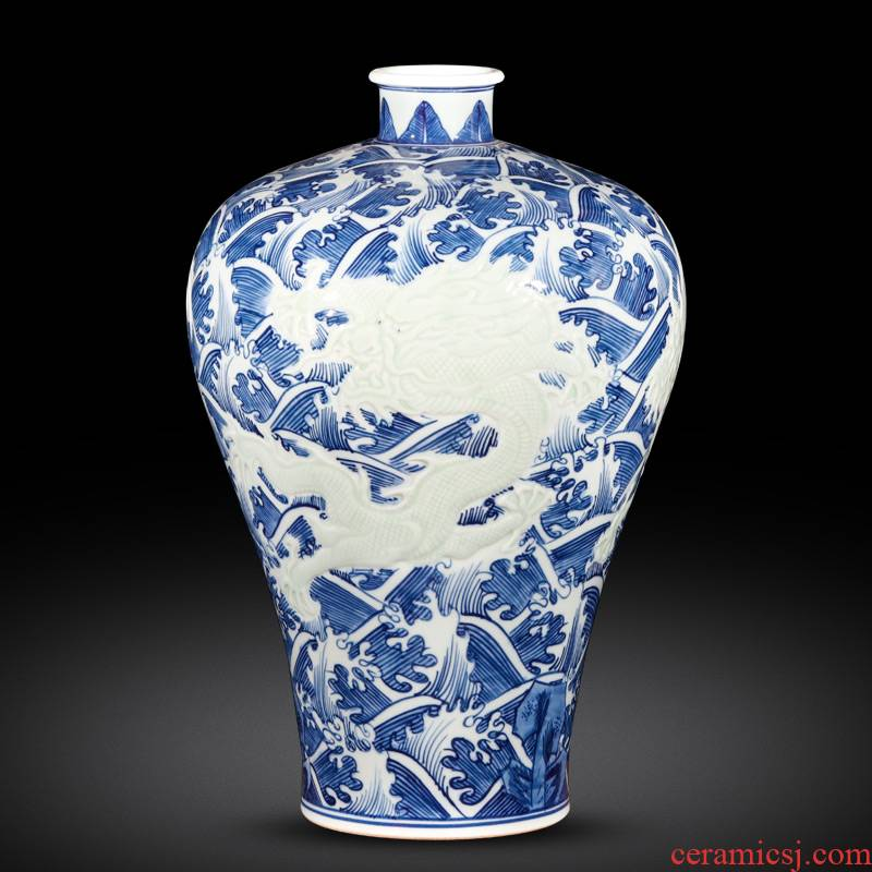 Jingdezhen ceramics antique hand - made of blue and white porcelain vases, flower arrangement, Chinese style living room TV ark adornment furnishing articles