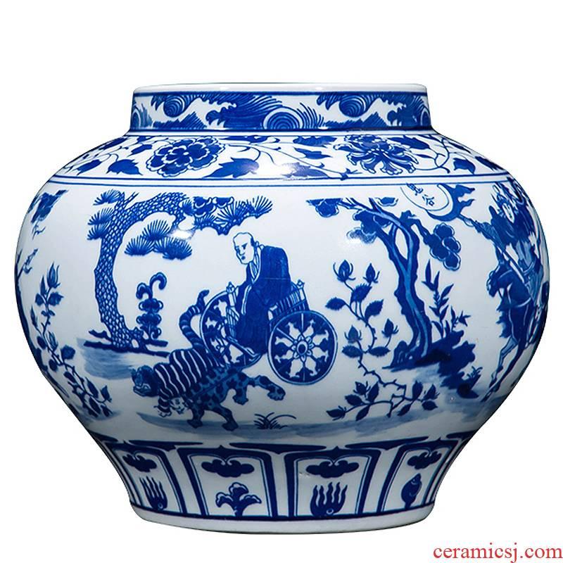 Jingdezhen ceramic vase hand-painted archaize yuan blue and white guiguzi down big pot sitting room place home decoration