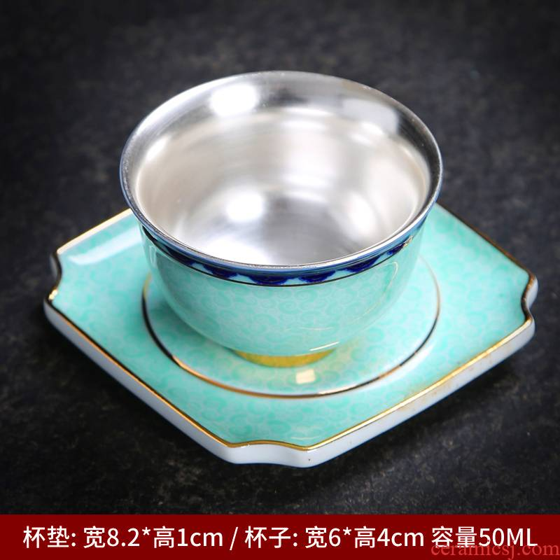 Tasted silver gilding 99 fine silver single CPU master cup sample tea cup colored enamel individual cup of kung fu tea tea cup ceramics by hand