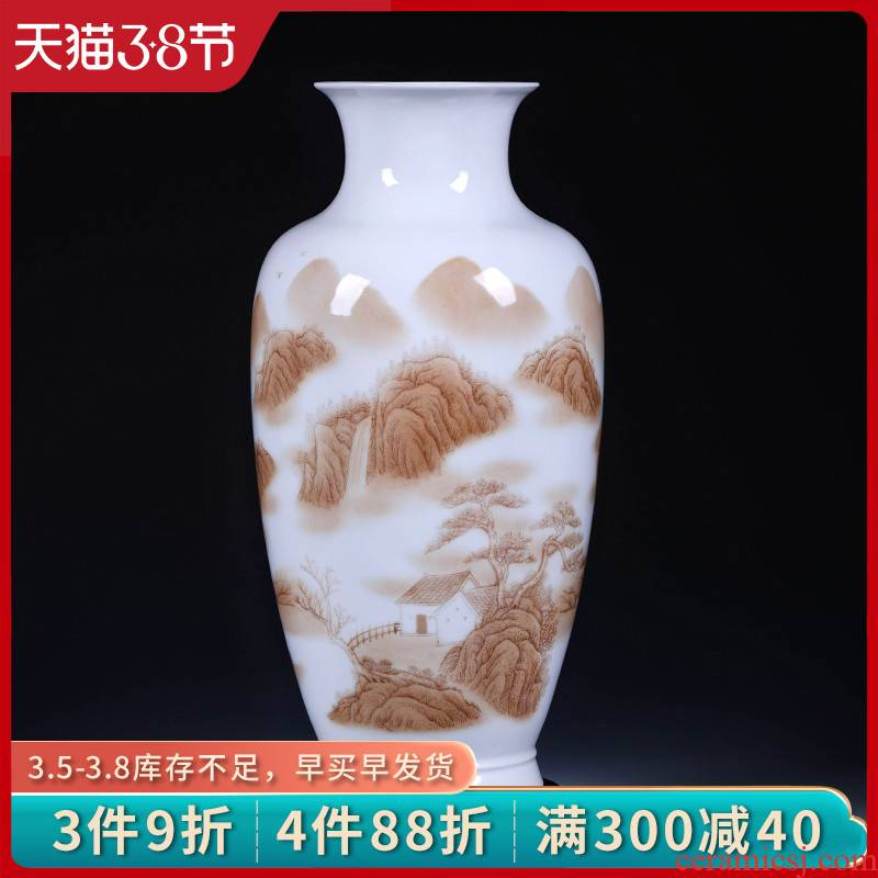 Jingdezhen ceramic vase furnishing articles new Chinese traditional Chinese painting landscape dried flowers flower arrangement home office decorations