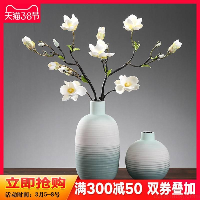 Morandi color drawing ceramic vase furnishing articles European sitting room porch TV ark, dried flower adornment water raise flower arrangement