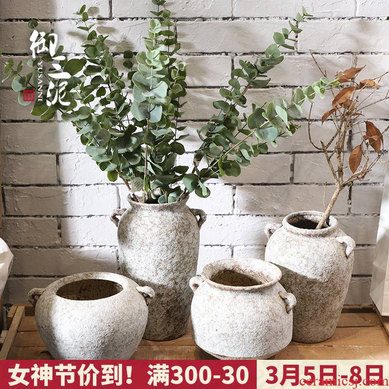 Retro POTS dry flower ceramic vase Nordic I and contracted hydroponic flowers plant coarse pottery flowerpot, fleshy furnishing articles