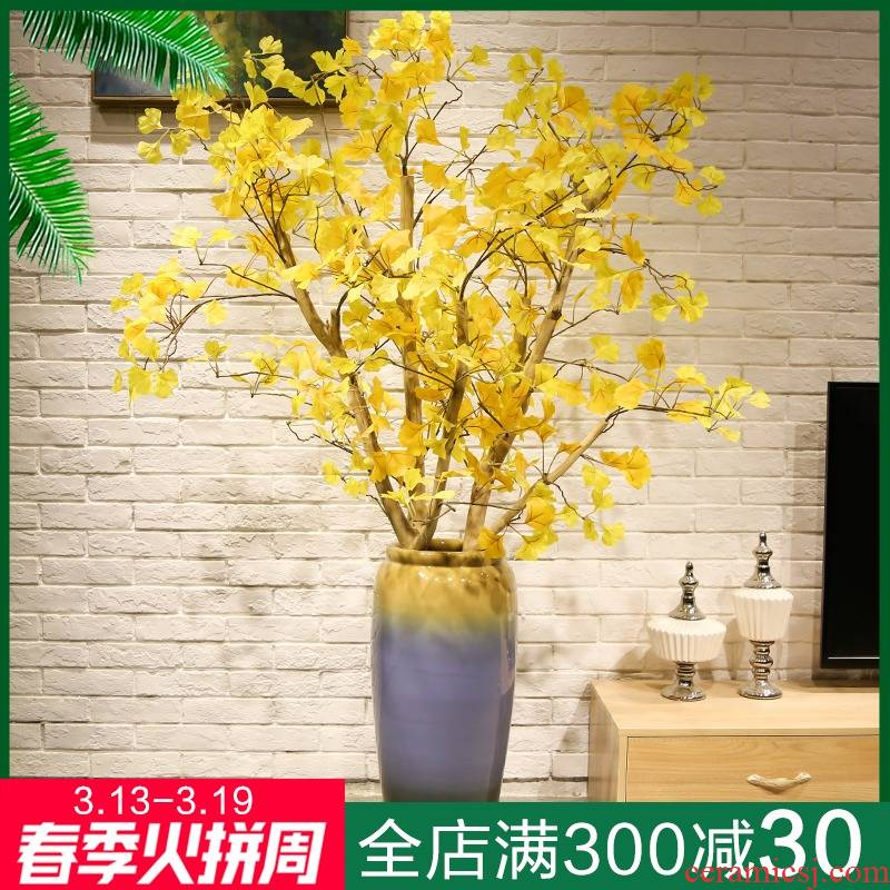 Jingdezhen new Chinese style villa hotel landing big vase household soft outfit sitting room adornment furnishing articles ceramic flowers