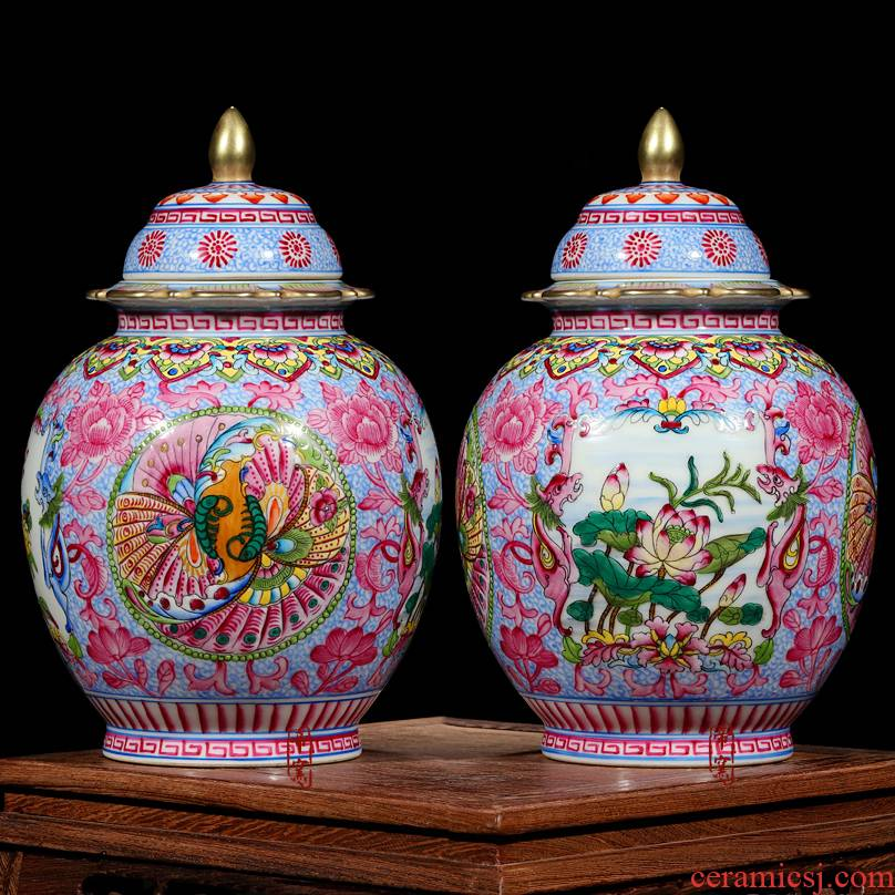 Jingdezhen ceramics archaize principal hand - made enamel lid tank enamel classical painting of flowers and storage tank decorative furnishing articles
