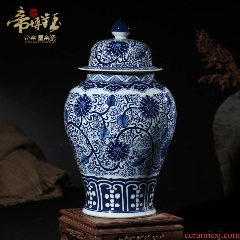 Blue and white porcelain of jingdezhen ceramics general tank furnishing articles sitting room TV cabinet storage pot handicraft decoration decoration