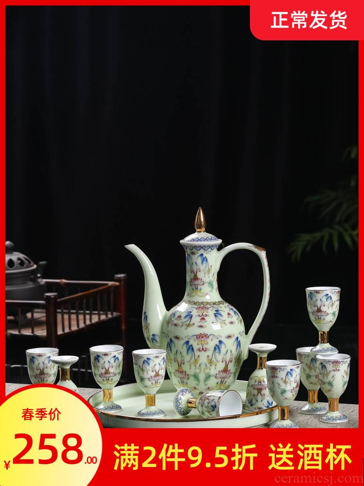 Jingdezhen ceramic wine suits for 12 head hip flask glass household of Chinese style points a small a small handleless wine cup wine goblet of wine