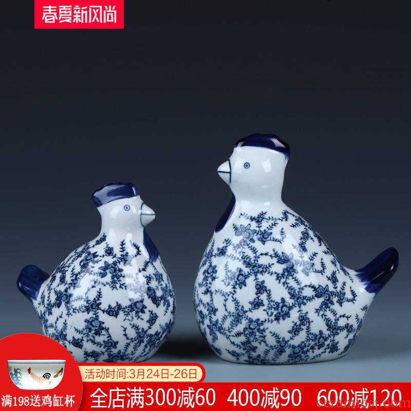 Ceramic chicken furnishing articles in plutus feng shui jingdezhen blue and white porcelain TV ark, creative, lovely sitting room decoration