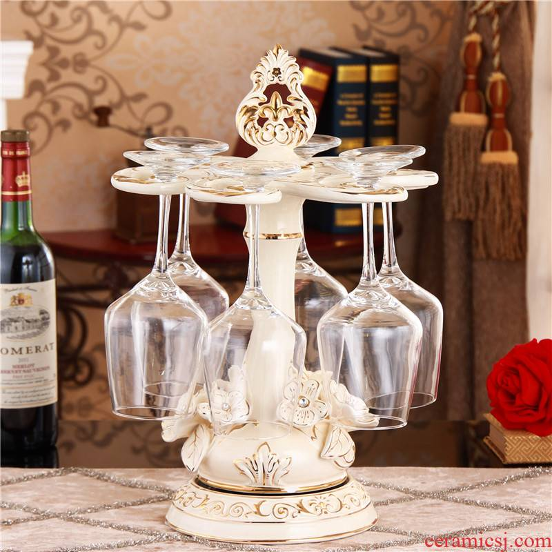 Glass frame down home hang ou goblet creative sitting room adornment ceramic wine furnishing articles