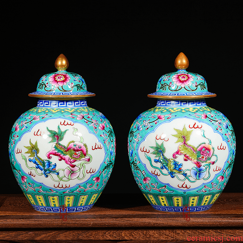 Jingdezhen ceramics hand - made vases manual colored enamel porcelain restoring ancient ways furnishing articles cover pot sitting room ground decoration
