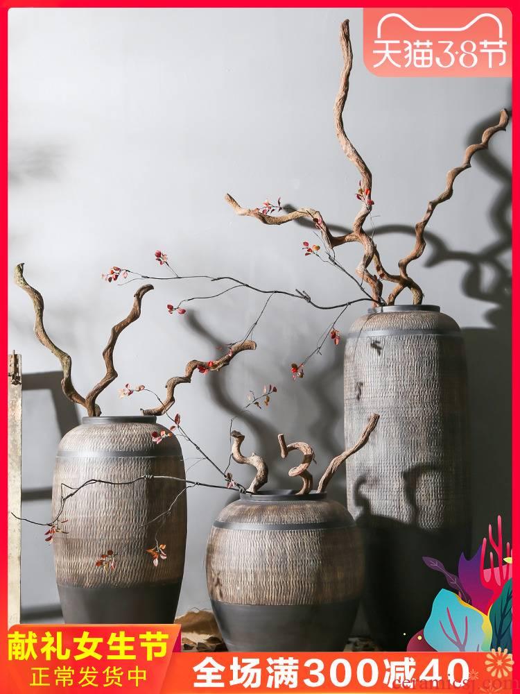 Jingdezhen coarse pottery restoring ancient ways is big flower implement hotel floor clay ceramic flower vases, decorative flower implement simulation furnishing articles