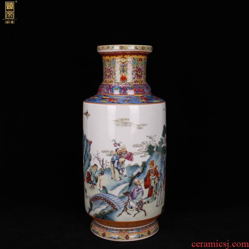 Jingdezhen imitation enamel qianlong years antique vase pastel xiangshan nine old wooden stick Chinese antique porcelain bottle furnishing articles